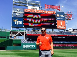Figure 1. Texas A&M University Turfgrass student Corey Diaz participating in an internship at the Washington Nationals, MLB team in Washington DC.