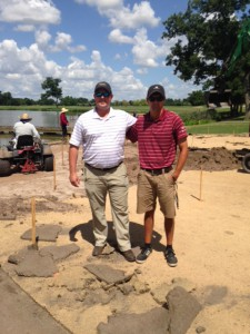 Figure 2. Texas A&M University Turfgrass student Garrett Parker participating in an internship and putting green renovation with Chris Erickson (Golf Course Superintendent) with Escalante Golf at Shadow Hawk Golf Club in Richmond, TX.